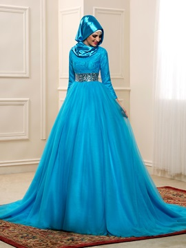 High Neck Lace Long Sleeve Beaded Waist Muslim Wedding Dress & Faster Shipping Sale on sale