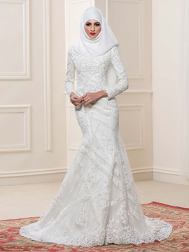 High Neck Lace Long Sleeve Mermaid Muslim Wedding Dress & Faster Shipping Sale from china