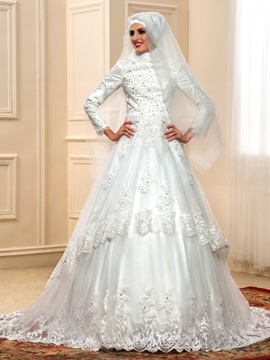 Arabic High Neck Long Sleeve Muslim Wedding Dress A-Line Zipper & Faster Shipping Sale on sale