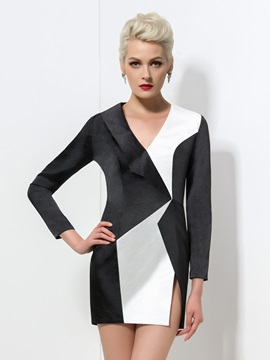 Timeless V-Neck Long Sleeve Color Block Short Formal Dress & Faster Shipping Sale on sale