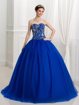 Ball Gown Tulle Sweetheart Beading Lace-Up Quinceanera Dress & Faster Shipping Sale from china