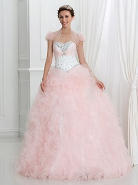 Dramatic Sweetheart Crystal Ruffles Ball Gown Quinceanera Dress With Jacket/Shawl & Faster Shipping Sale online