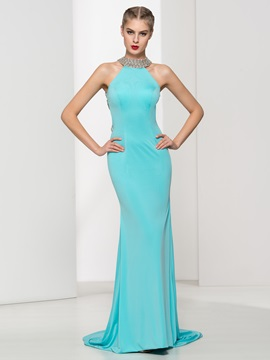 Sexy Backless Beading Sheath Long Evening Dress & petite Faster Shipping Sale