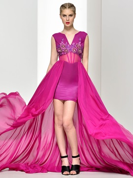Amazing V-Neck Appliques Asymmetry Evening Dress & Faster Shipping Sale for sale