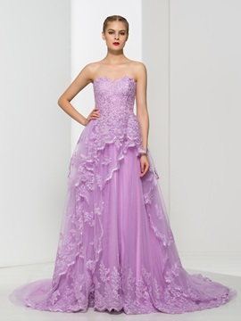 Dramatic Sweetheart A-Line Appliques Long Evening Dress & attractive Faster Shipping Sale