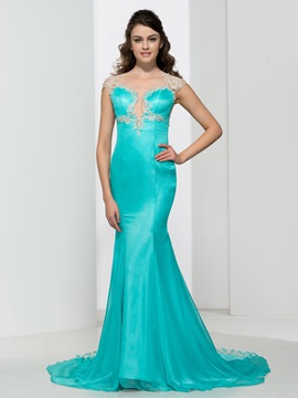 Sheer Neck Appliques Beading Mermaid Evening Dress & colored Faster Shipping Sale