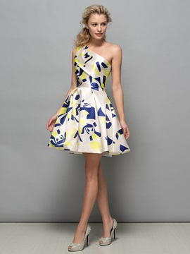 Attractive One Shoulder A-Line Print Cocktail Dress & Faster Shipping Sale 2012