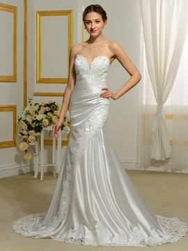 Sweetheart Appliquees Hollow Mermaid Wedding Dress & vintage style Faster Shipping Sale
