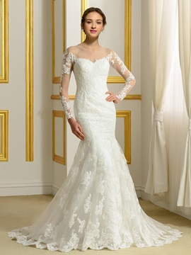 Sheer Jewel Neck Long Sleeve Lace Mermaid Wedding Dress & colored Faster Shipping Sale