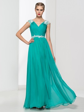 V-Neck Appliques Beading Pleats Long Prom Dress & romantic Faster Shipping Sale