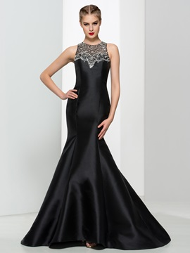 Beaded Long Black Mermaid Evening Dress & Faster Shipping Sale under 100