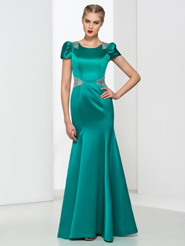 Graceful Scoop Neck Short Sleeves Beading Trumpet Evening Dress & fashion Faster Shipping Sale