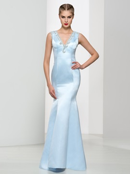 Amazing Beaded Back V-Neck Trumpet Evening Dress & affordable Faster Shipping Sale