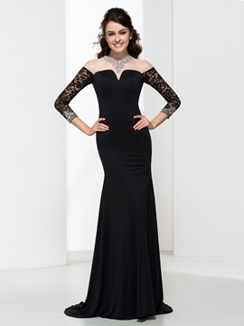 Mermaid Long Sleeves Sequins Backless Sexy Evening Dress & simple Faster Shipping Sale