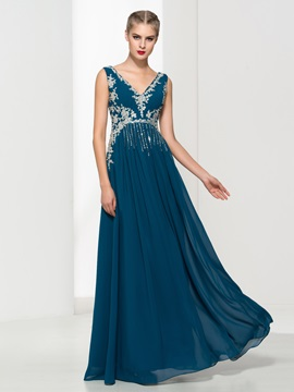 V-Neck Appliques Sequins Long Evening Dress & petite Faster Shipping Sale