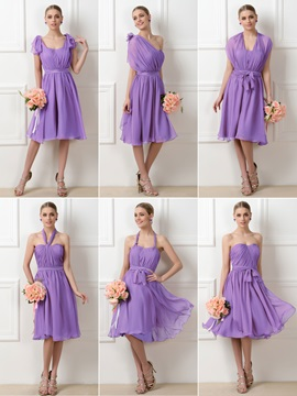 Convertible Purple A-Line Chiffon Knee-Length Short Bridesmaid Dress & cheap Faster Shipping Sale