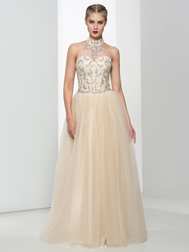 Halter Sequins Beading A-Line Tulle Prom Dress & attractive Faster Shipping Sale