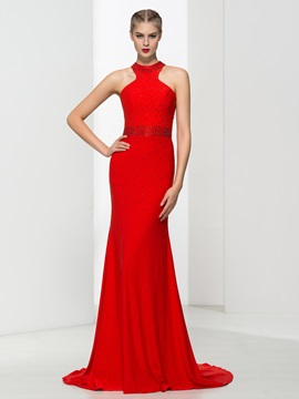 Graceful Halter Beading Red Sheath Evening Dress & Faster Shipping Sale online