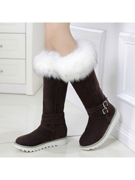 Faux Fur Buckle Knee High Snow Boots