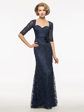 Half Sleeves Sheath Lace Long Mother Of The Bridesmaid Dress & vintage style Faster Shipping Sale