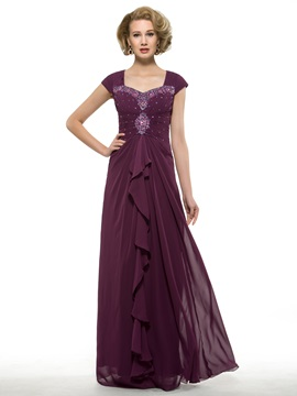 Ruched Beaded Sweetheart Grape Chiffon Mother of the Bride Dress & Faster Shipping Sale online