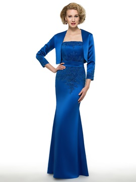 Strapless Appliques Sheath Long Mother Of The Bride Dress With Jacket & vintage style Faster Shipping Sale