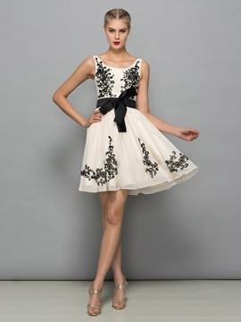 Square Neck Appliques Bowknot Short Cocktail Dress & attractive Faster Shipping Sale
