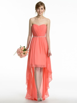 Ruched Sweetheart Crystal Waist High Low Bridesmaid Dress & Faster Shipping Sale online