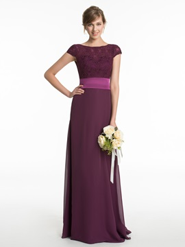 Bateau Lace A Line Long Bridesmaid Dress & modest Faster Shipping Sale