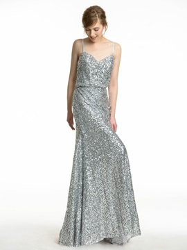 Spaghetti Straps Sweetheart Bling Bling Sequin Bridesmaid Dress Long & Faster Shipping Sale online