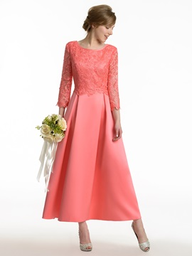 Cheap Scoop Neck Lace 3/4 Sleeve Tea Length Satin Bridesmaid Dress & Faster Shipping Sale 2012