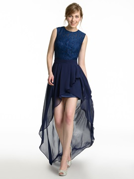 Lace Top High Low Bridesmaid Dress & modest Faster Shipping Sale