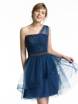 Rhinestone Beaded One Shoulder Mini Bridesmaid Dress & attractive Faster Shipping Sale