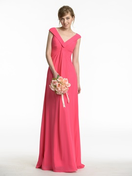 Cheap Pleated V-Neck Light Plum Chiffon Bridesmaid Dress & Faster Shipping Sale 2012