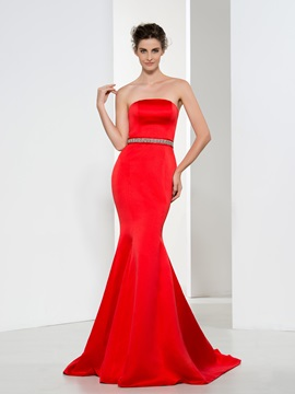 Elegant Strapless Beaded Waist Ruffles Mermaid Evening Dress & Faster Shipping Sale from china