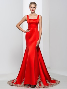 Graceful Square Neck Appliques Red Mermaid Evening Dress & colorful Faster Shipping Sale
