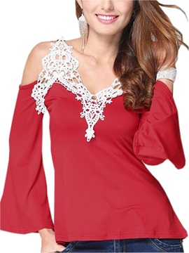 Stylish Lace Decoration Collar Dew Shoulder T-Shirt