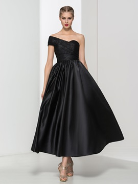Cool One Shoulder Lace Black Ankle-Length Evening Dress & quality Faster Shipping Sale