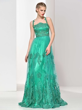Straps A-Line Sashes Appliques Tulle Evening Dress & romantic Faster Shipping Sale