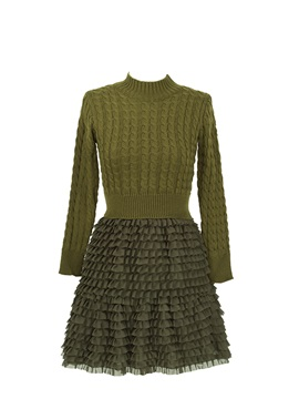 Stylish Stand Collar Sweater & A-Line Skirt