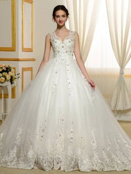Beaded Lace Appliques V-Neck Sheer Back Ball Gown Wedding Dress & simple Faster Shipping Sale