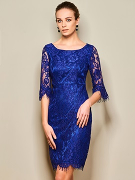 Solid Color Round Neck Half Sleeve Lace Dress
