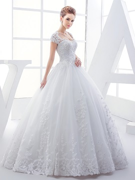 Lace Sweetheart Open Back Short Sleeve Ball Gown Wedding Dress & fairytale Faster Shipping Sale