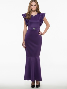 Solid Color Ruffle Sleeve Empire Waist Maxi Dress