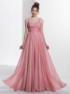 Pretty Straps Empire Waist Beading Long Prom Dress & discount Faster Shipping Sale