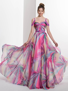 Amazing Straps Beading Printed Prom Dress & Faster Shipping Sale 2012