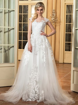 Charming Scoop Neck Floor Length A Line Wedding Dress & fairytale Faster Shipping Sale