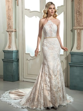 Elegant Lace Halter Sleeveless Mermaid Wedding Dress & amazing Faster Shipping Sale