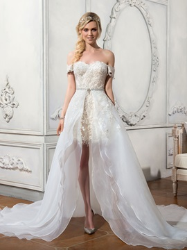 Charming Off the Shoulder Appliques Asymmetry A Line Wedding Dress & unusual Faster Shipping Sale