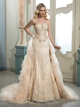 Charming Strapless Sleeveless Lace Beaded Court Wedding Dress & elegant Faster Shipping Sale